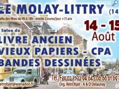 photo de 14/15 août - LE MOLAY LITTRY - 13° salon du LIVRE ANCIEN & OCCASION - PAPIERS - CPA - BD